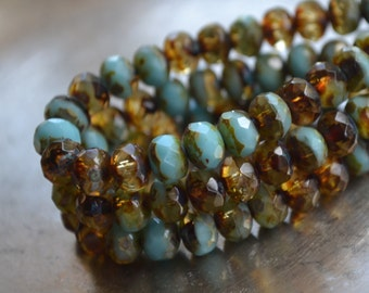 12 Czech Picasso 6x4mm Turquoise & Amber Faceted Rondelle Beads (611-12)