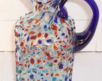 Handmade Mexican Confetti Glass Pitcher