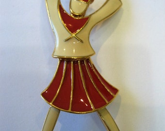 Vintage Signed Trifari Red and Cream Enamel Figural Cheerleader Sailor Brooch Pin
