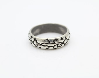 Mens Low Dome Hand-Etched Salamander Band Ring in Sterling Silver Size 9.75. [10898]