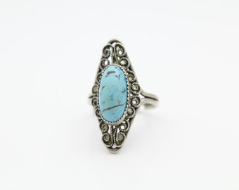 Vintage Sterling Silver Oval Turquoise and Filigree Adjustable Ring BEAU Sz 4.5. [6615]