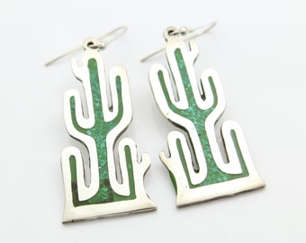Big Cactus Dangle Earrings in High-Quality Inlaid Turquoise Enamel and Silver. [7541]