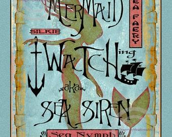 Mermaid Watching Sign Print, Distressed Vintage style, Sea Siren, Sea Faery, Silke, Sea Nymph, Beach Seaside, Giclee  Art Print, 11x14,16x20