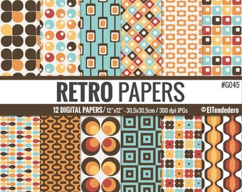 Retro digital paper pack, with retro geometric backgrounds - Vintage digital papers.
