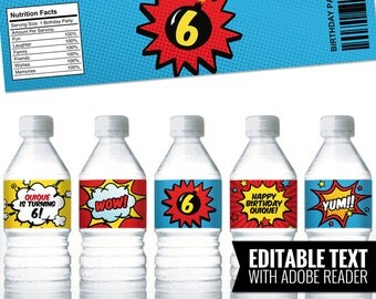 Comic-Superhero bottle labels, to decor your superhero party - Printable and editable  PDF file.