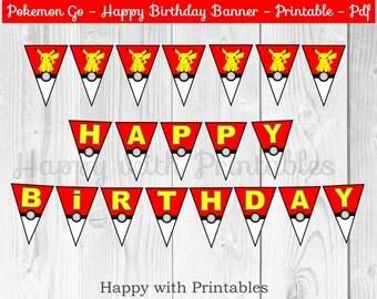 Pokemon GO Happy Birthday banner - Pokemon Banner - Pokemon GO Banner - Pikachu Banner - Pokemon - Pokemon party - Pokémon printable