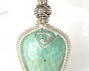 Silver Plated Amazonite pendant