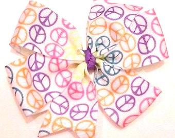 Peace Sign Hair Bow , Peace Hair Clip , Hippie Girl Bow , Neon Bow , Pinwheel Hair Bow