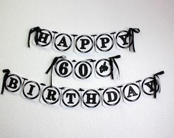Black Happy 60th Birthday Banner