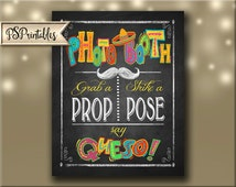 Printable Fiesta PHOTO BOOTH sign in chalkboard style, Cinco De Mayo Party, Children's birthday party signage, Fiesta Signs Kids party decor