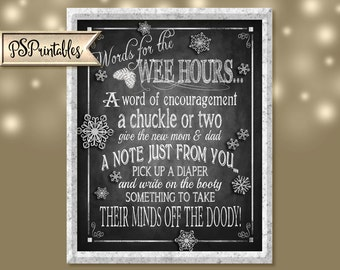 Printable Baby Shower WEE HOURS Chalkboard sign - Printable DIY - winter baby - baby shower guest book - sign the booty diaper guest book