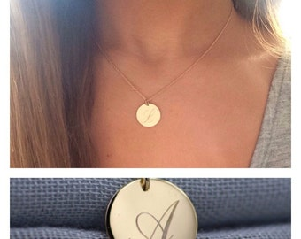 LARGE 14k solid gold 14.5mm largest size initial necklace custom necklace