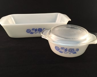 Anchor Hocking Fire King Small Casserole Dish With Lid and Loaf Pan, 3 Piece Set