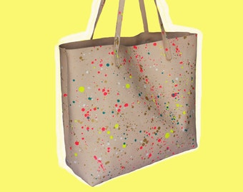 Natural Leather Tote bag with Multicolored Paint Splatter