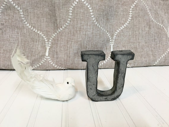 small metal letters letter u 4 galvanized metal by theshabbystore. Black Bedroom Furniture Sets. Home Design Ideas