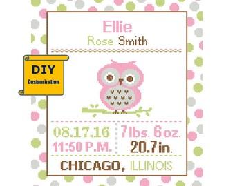 Baby Owl Cross Stitch Birth Announcement Cross Stitch Birth Sampler Polka Dot Baby Girl Baby Owl Sampler Woodland Nursery DIY Pattern