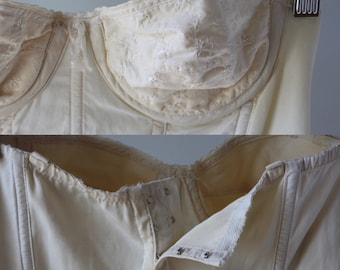 White vintage embroidered bustier corset lingerie 1950s