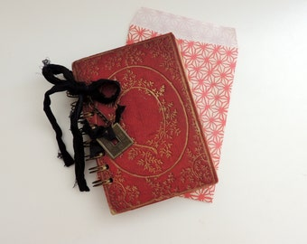 Vintage Asian Journal, Mini Vintage Journal, Pocket Journal, Asian Ephemera, Mini Tea Dyed Journal