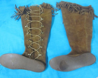 60s Moccasins, Authentic Hippie Boots, Boho Hippie Lace Up Moccasins, Vintage Knee High Lace Up Boots, Size 7 Moccasin