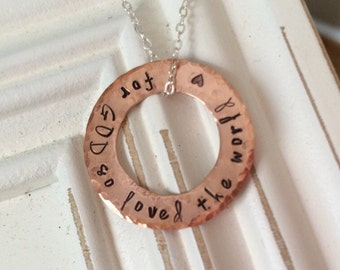For God so loved the world copper necklace