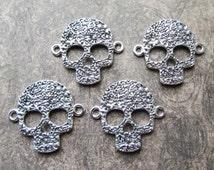 4 Antique Silver Sugar Skull Metal Connector Pendants 33mm