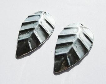 2 Large Tibetan Silver Metal Leaf Pendants 46mm