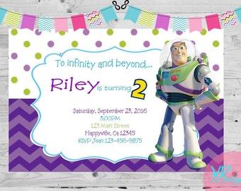 Buzz Light-year, Toy Story, Girls Birthday Invitation, 15 printed invitations with envelopes
