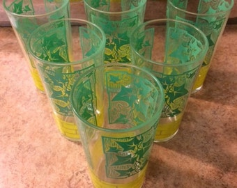 Set of 6 Vintage Yellow and Green Vine Glasses