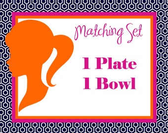 Monogrammed Plate and Bowl Set! VERY cute and unique! Custom Designs Welcome! Make meal time fun! The perfect holiday or birthday gift idea