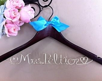 Custom/personalized Bridal Hanger with Satin Ribbon Bow Embellishment