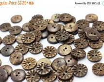 Floral Coconut Button, Flower Coconut Buttons, Blouse Button, Shirt Button, Brown Button, Decorative Button, Two Holes Sew Through, 13mm