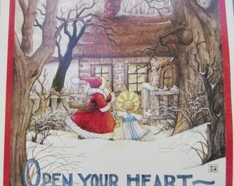 Rare Mary Engelbreit Christmas Art Work, Santa Wall decor, Mary Engelbreit wall poster, Cottage Chic Christmas decor, ME Art, Gift for child