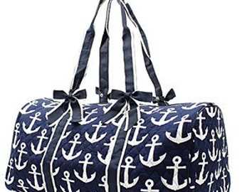 Quilted Anchor/Splash Whale/Sea Horse  Duffel Bag WITH FREE MONOGRAM