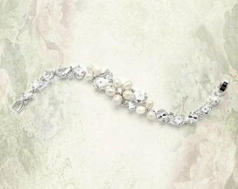 Ravishing Freshwater Pearl and CZ bridal Bracelet