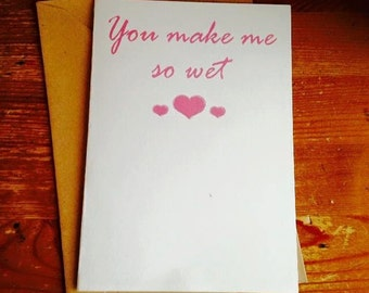 Birthday Greetings Card RUDE BLUNT Humour You make me so wet JS143