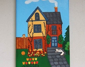 Acrylic Painting, Original Folk Art, Naive Art, Victorian House with White Cat  and Garden (7.1 x 4.7 inches)