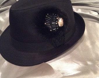Fedora, Hats, Black Fedora, Women's Hats, Easter Hat, Fedora, Black Hat, Bling Hat, Rhinestone Hat, Rhinestone Fedora