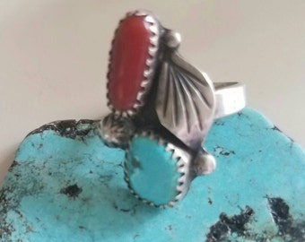 Authentic turquoise and coral sterling silver ring size 6