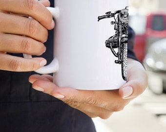 KillerBeeMoto: U.S. Made Limited Release Vintage Cafe Racer Coffee Mug With Hand Sketched Graphic