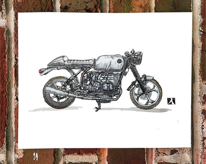 KillerBeeMoto: Limited Print Hand Drawn Vintage BMW R65 German Cafe Racer Drawing 1 of 50