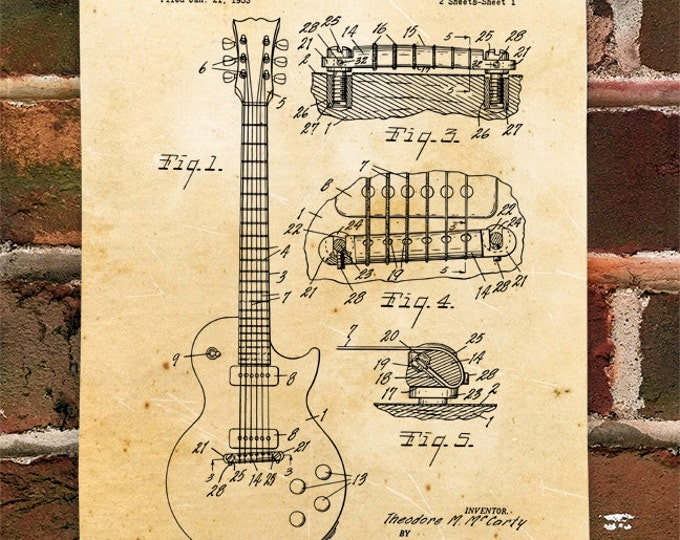 KillerBeeMoto: Duplicate of Original U.S. Patent Drawing Gibson Les Paul Guitar