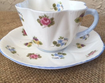 Shelly Rosebud 13426 Fluted Tea Cup and Saucer Vintage Vignette and Staging Decor Bone China