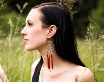 Red Pheasant and Howlite Copper Hoops