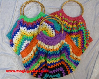 Beautiful Boho Hand Crocheted Cotton bag with Bamboo handles