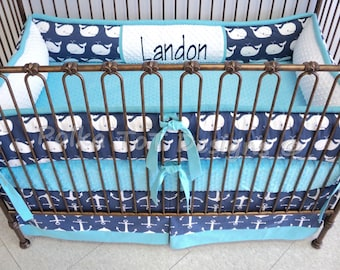 Navy & Teal Whales and Anchors Nautical Baby Bedding: Pacifica