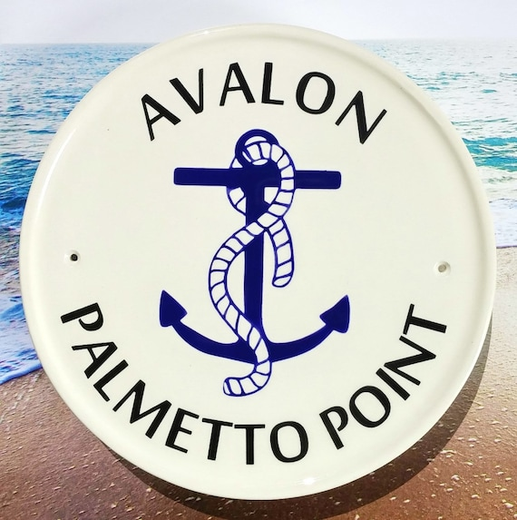 Personalized Beach House Plaques: Nautical Address Sign / Anchor Decor / Beach House Plaques