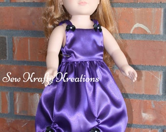 """Beautiful Purple Doll Gown for 18"""" doll like American Girl"""