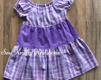 Children's Size 2 - Purple Plaid Spring Dress