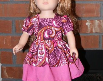 "Pink and Purple Paisley Print Doll Dress for 18"" doll like American Girl"