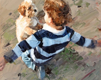 Canvas print, of my, original artwork, impressionist, oil painting, 'Best Friends', dog art, wall art canvas, canvas print